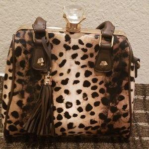 Leopard Print Bejeweled Bag - EUC